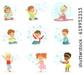 children playing with colorful... | Shutterstock .eps vector #619952315