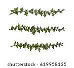 vector border set made of hand... | Shutterstock .eps vector #619958135