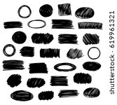 black vector  strokes of marker ... | Shutterstock .eps vector #619961321