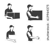 monochrome logo of a postman or ...