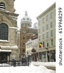 Small photo of QUEBEC CITY, CANADA - MARCH 14: Rue Sainte-Famille at Upper Town (Haute-Ville) on March 14, 2017 in Quebec City, Quebec, Canada. Historic District of Quebec City.