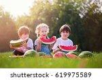 three happy smiling child... | Shutterstock . vector #619975589