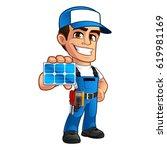 friendly technician installer... | Shutterstock .eps vector #619981169