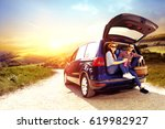 car trip of summer time  and... | Shutterstock . vector #619982927