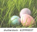 easter eggs in the grass   Shutterstock . vector #619990037