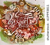 cartoon cute doodles hand drawn ... | Shutterstock .eps vector #619993811