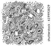cartoon cute doodles hand drawn ... | Shutterstock .eps vector #619993829