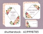 romantic floral wedding... | Shutterstock .eps vector #619998785