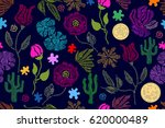 summer colors. floral seamless... | Shutterstock .eps vector #620000489