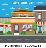 sweet candy shop in cityscape... | Shutterstock .eps vector #620001251