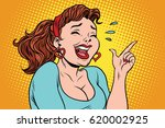 young woman laughing with tears ... | Shutterstock .eps vector #620002925