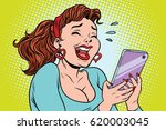 comic girl laughing to tears... | Shutterstock .eps vector #620003045