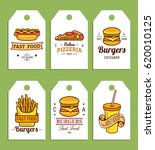vector fast food tags. burgers  ... | Shutterstock .eps vector #620010125