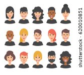 set of 15 diverse avatars.... | Shutterstock .eps vector #620010851