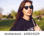 cool urban hipster girl wearing ... | Shutterstock . vector #620014229