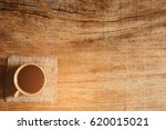 morning coffee on old wood... | Shutterstock . vector #620015021