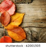 Small photo of Autumn Leaves over wooden background.With copy space