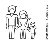 family dad mom and son outline | Shutterstock .eps vector #620019119