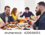 friends meeting. group of happy ... | Shutterstock . vector #620036051