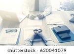 businessman and customer having ... | Shutterstock . vector #620041079