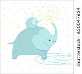 cute elephant is splashing... | Shutterstock .eps vector #620047634