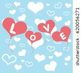 valentines day card with hearts ... | Shutterstock .eps vector #620056271