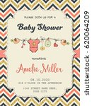 beautiful retro baby shower... | Shutterstock .eps vector #620064209