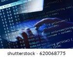 woman hand on a laptop keyboard.... | Shutterstock . vector #620068775