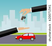 the hand holds the keys to the... | Shutterstock .eps vector #620071541
