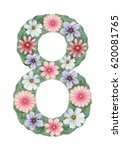number 8 made of hand painted... | Shutterstock . vector #620081765