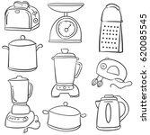 doodle of kitchen equipment... | Shutterstock .eps vector #620085545