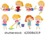 happy girl doing different... | Shutterstock .eps vector #620086319