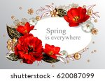 Greeting Card With 4 Red Tulip...