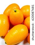 Small photo of Kumquat fruit (Chinese orange - Fortunella - Citrus japonica) isolated on the white background