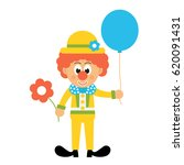cartoon clown with hat and... | Shutterstock .eps vector #620091431