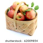 Red Apples On Basket Isolated...