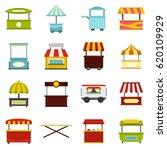 street food truck icons set in... | Shutterstock .eps vector #620109929