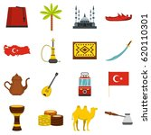 turkey travel icons set in flat ... | Shutterstock .eps vector #620110301