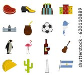 argentina icons set. flat... | Shutterstock .eps vector #620110889