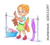 a neat girl does housework ... | Shutterstock .eps vector #620111297