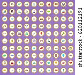 100 transportation icons set in ... | Shutterstock .eps vector #620112191