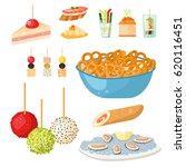 various meat canape snacks... | Shutterstock .eps vector #620116451