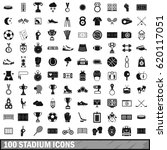 100 stadium icons set in simple ... | Shutterstock .eps vector #620117051