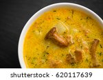 cream soup with mushrooms... | Shutterstock . vector #620117639