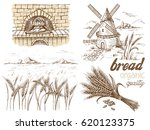 fresh bread and a oven windmill ... | Shutterstock .eps vector #620123375