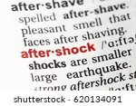 Small photo of Closeup of English dictionary page with word AFTERSHOCK.