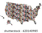 Small photo of USA United States map multicultural group of people integration immigration diversity isolated