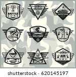 black vintage military labels... | Shutterstock .eps vector #620145197