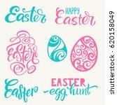set of hand written happy... | Shutterstock .eps vector #620158049