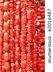 The collection of necklace from the red corals - stock photo